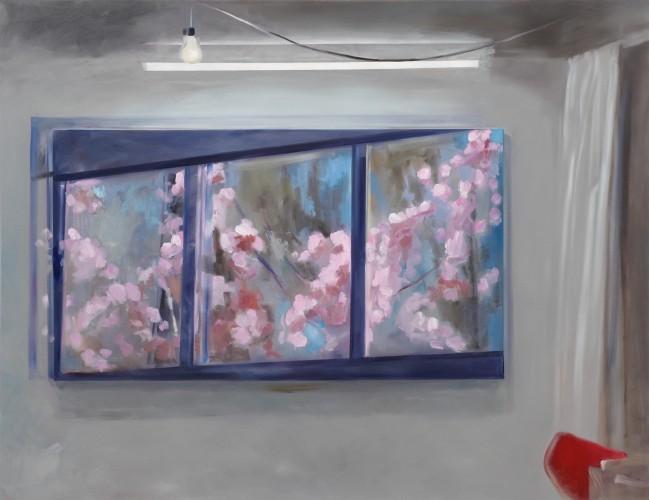 Atelierfenster II mit Kirschspiegelung