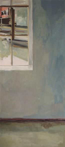Übermaltes Porträt mit Fensterecke